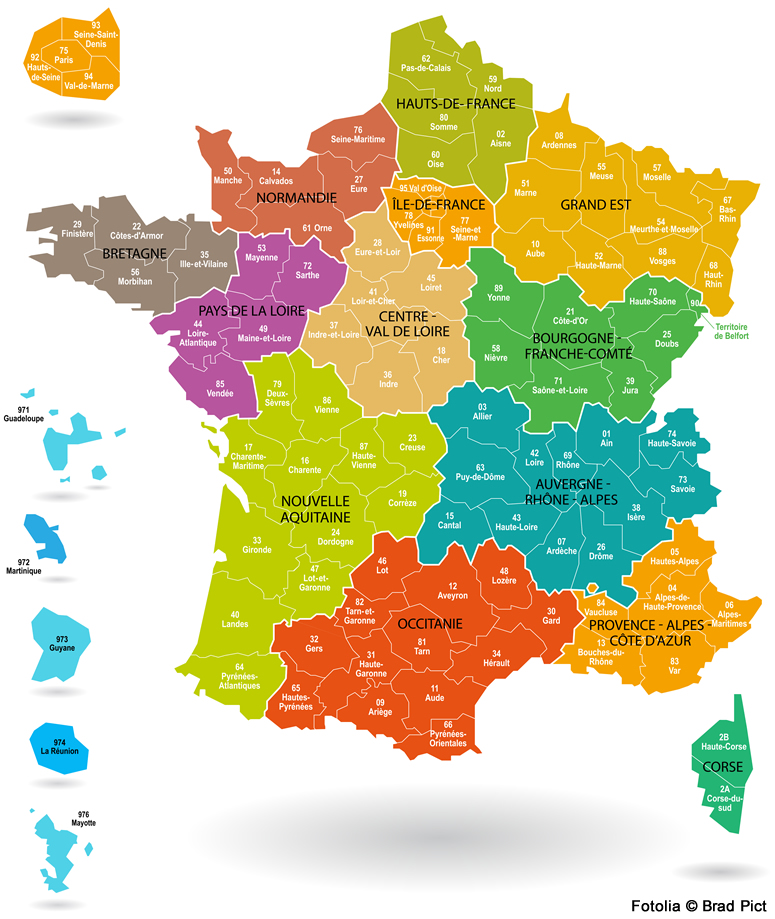 carte de france et ses departements