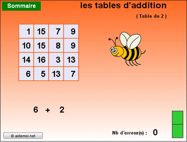 Calcul mental additionne de +2 � +11 (11 niveaux)